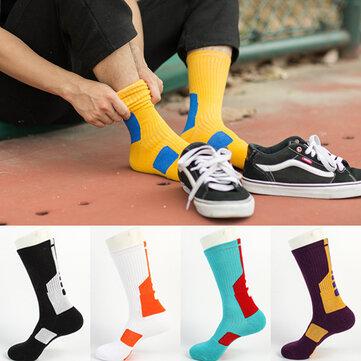 Mens Cotton Geometry Patchwork Antibacterial calcetines Transpirable Sport calcetines