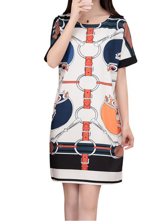 Women Elegant Printed O-Neck Short Sleeve A-Line Mini Casual Dress
