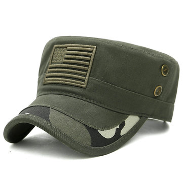 Mens Cotton Camouflage Badge Cadet Army Cap Military Hat