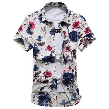 PlusSizeBeachSeasideดอกไม้แฟชั่นการพิมพ์เสื้อแขนสั้นสั้นฤดูร้อนHoliday Shirts for Men