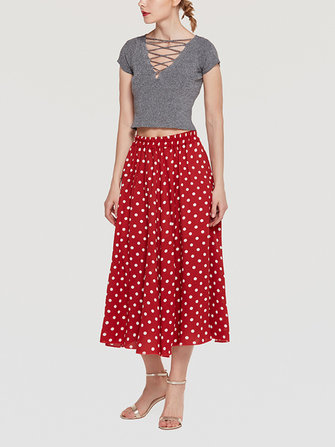 Chiffon Polka Dot Pleated Elastic Waist Skirts