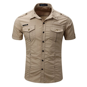 Mens Outdoor Washed Cargo Chest Pockets Solid Color Turn-down Collar Casual Shirts