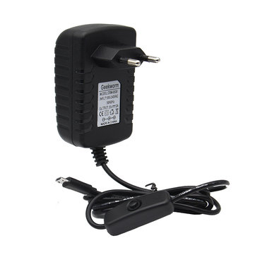 Geekworm EU Standard DC 5V 3.0A Power Supply Adapter With Switch For Raspberry Pi