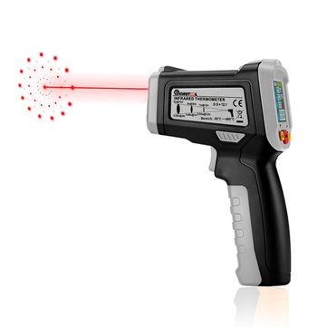 MUSTOOL® MT6300 -50~300℃ Themometer Gun Digital LCD Color Display Non Contact Infrared Laser Temperature Tester with 12 Indicative Ring + Temperature Difference Alarm (-58~572℉)