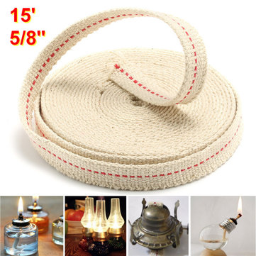 5/8 Inch Flat Cotton Wick 15 Foot Oil Lamps and Lanterns Cotton Wick 4.5M Length