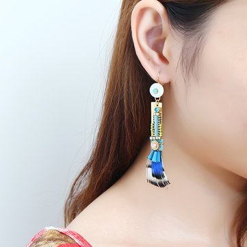 Bohemian Gold Plated Gemstone Earring Elegant Feather Pendant Ear Drop Jewelry Gift For Women
