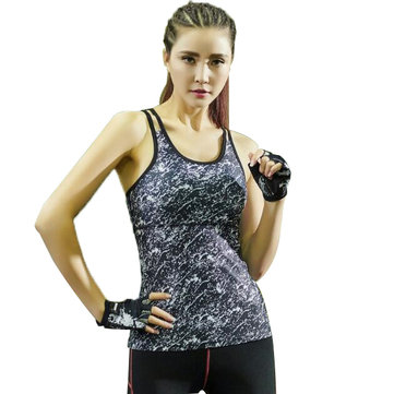 Summer Women Fitness Sexy Vest Printed Tight Sleeveless Running Sport T-shirt Workout Tank