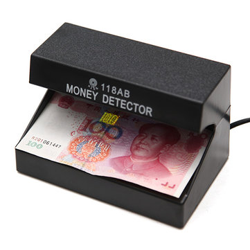 AD-118AB 110-220V Fake Money Cash Detector Checker Testing Machine with UV Blue Lamp for Shop Cashier EU Plug
