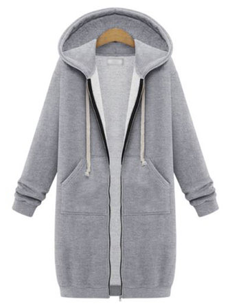 Casual Long Sleeve Hood Zipper Loose Sweatshirt