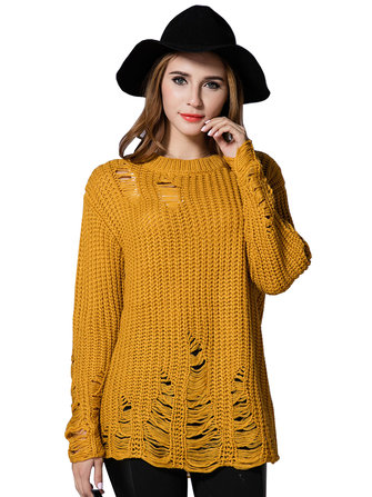 Loose Women Pure Color Ripped Holes Knitted Pullover Sweater