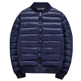 Padded Bomber Jacket Stand Collar Warm Quilted Coat for Men