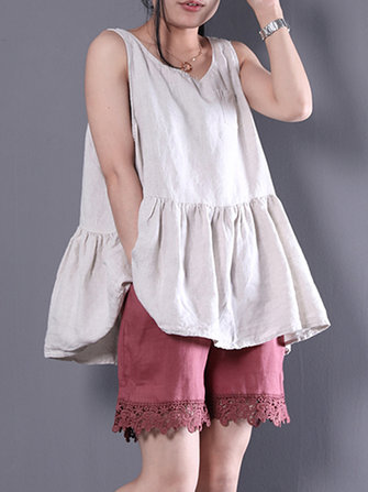 Sleeveless O-neck Solid Color Pleated Tank Tops