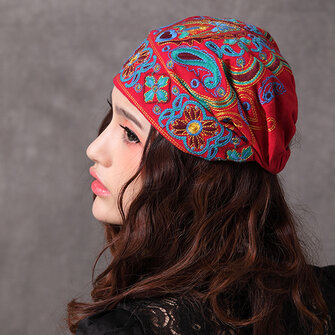 Women Navy Beanie Caps Ethnic Embroidery Skullcap Hat
