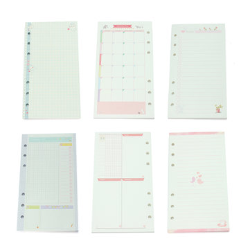 2017 A6 Cute Colored Refill Binder Filler Paper Office School Stationery Planner Filler Paper