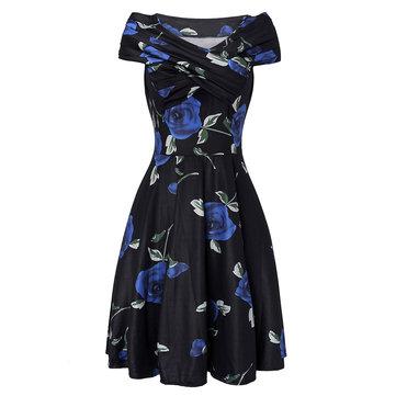 Retro Rose Printed Stretch High Waist Women Party Dress