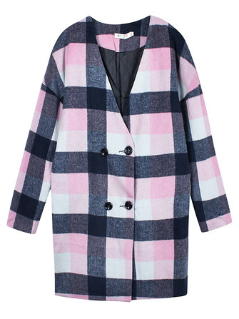 Women Checked Coats Button Plaid Long Sleeve Woolen Outwears