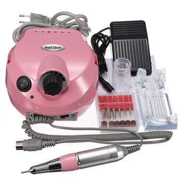 220V Acrylic Electric Nail Drill Machine Pedicure Nail Buffer Bits Manicure Pedicure Kit Set