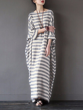 S-5XL Striped Cotton Dress