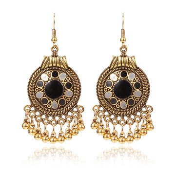 Vintage Ear Drop Earring Round Geometric Beads Tassels Dangle Earrings Ethnic Jewelry for Women