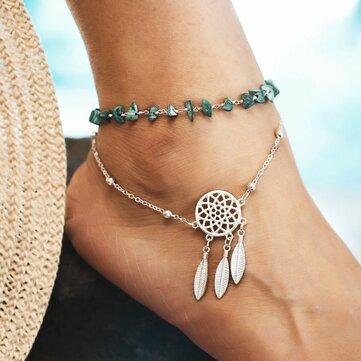 Bohemian Irregular Anklet Green Turquoise Dream Anklet