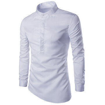 Mens Asymmetrical Hem Stand Collar Long Sleeve Slim Fit Brief Shirt