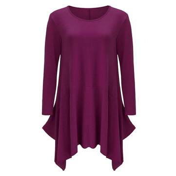 Casual Solid O Neck Long Sleeve Pocket Irregular Women Loose Dress