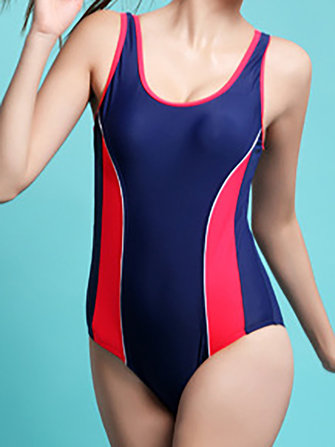 Sporty Patchwork One Piece Swimsuit Tight-fitting Surfing Swimming Women Swimwear