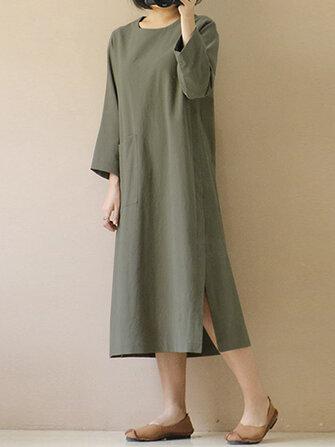 Women Vintage 3/4 Sleeve Split Casual Solid Mid-long Dress
