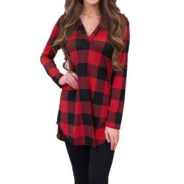Women Checked V Neck Blouse