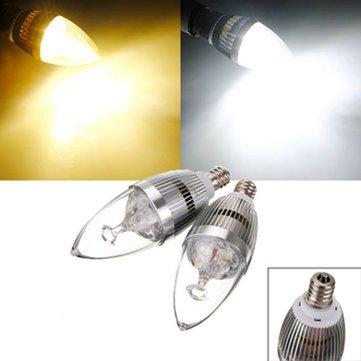 Е12 3вт 3 LED белый/теплый белый LED серебряные свечи Лампа 85-265в