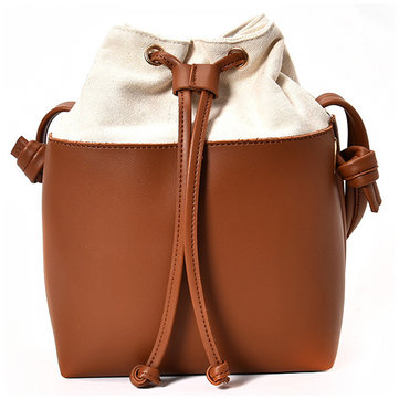 Women PU Leather High End String Bucket Bag Crossbody Bag