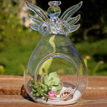 diy micro landscape hanging angel shape glass plant vase home garden party decoration - Garden Hanging Decorations