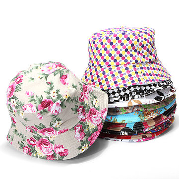Women Cotton Floral Fishing Hat Boonie Bucket Summer Sun Cap Outdoor