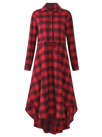 Women Casual Long Sleeve Buttons Drawstring Waist Plaid Shirt Dresses