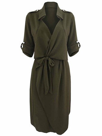 Bow Belt Work Casual Solid Color Lapel Women Shirt Dress