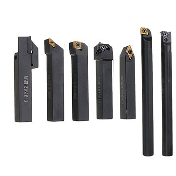7pcs 16mm Shank Lathe Turning Tool Holder Boring Bar CNC Tools Set With Carbide Inserts And Wrenches