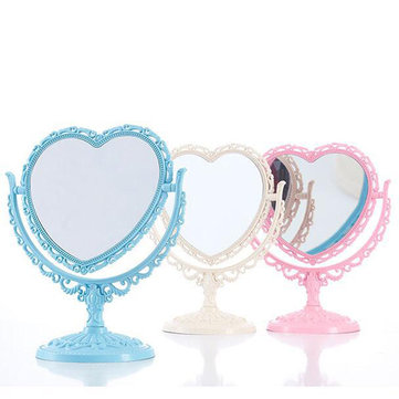 Makeup Mirror 2 Side Comestic Rotat Stand Table Plastic Dresser Heart Shape Mirrors Cosmetic Tool