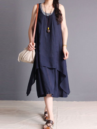 Gracila Layered Sleeveless Pure Color O-neck Irregular Women Dress