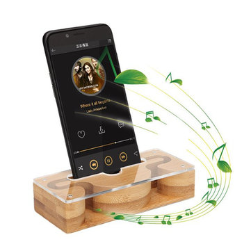 Universal Bamboo Sound Amplifier Desktop Holder for Xiaomi Mobile Phone Under 6.0 inches