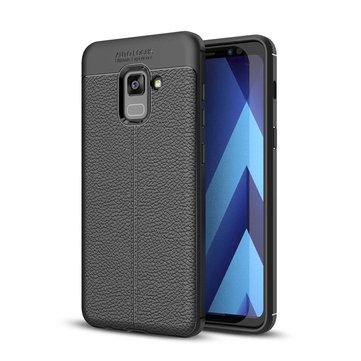 Bakeey Anti Samsung Galaxy A8 Plus 2018 için parmak izi Soft TPU Litchi Deri Kılıf