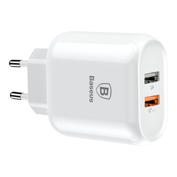 Baseus Quick Charge 3.0 Dual USB 5V/3A Travel Wall USB EU Charger for Samsung Xiaomi Huawei