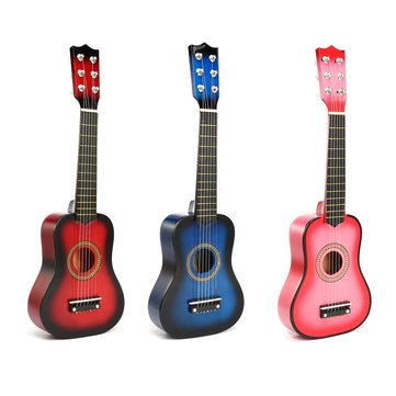 21 Inch 6 Strings Wooden Acoustic Guitar Ukulele Musical Instrument Toys for Children Gift