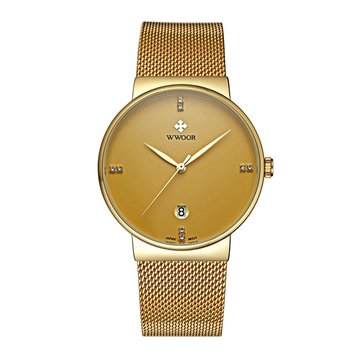 WWOOR 8018 Fashion Men Watch Casual Ultra Thin Case Businessmen Stainless Steeel Wrist Watch