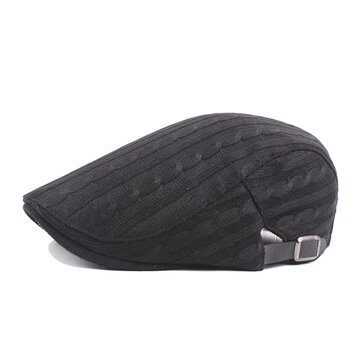 Mens Cotton Knitted Warm Adjustable Beret Cap