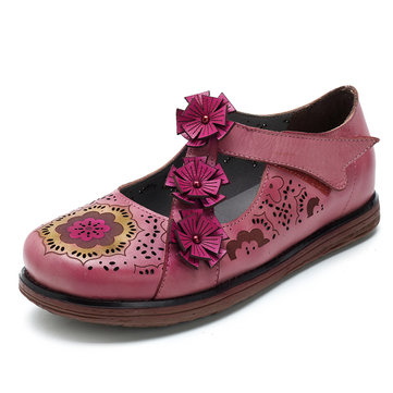 SOCOFY Genuine Leather Flower Retro Flats