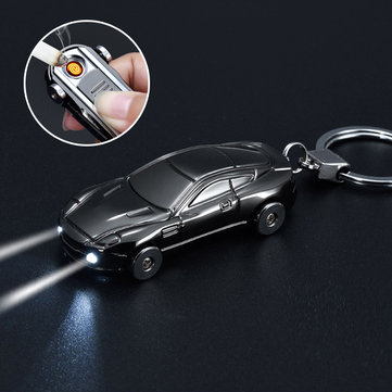 Electric Lighter Key Chain LED Light Electric Coil Windproof Flameless USB Recahrageable Heater