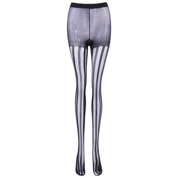 Sexy Slim Vertical Striped Women Pantyhose Legging