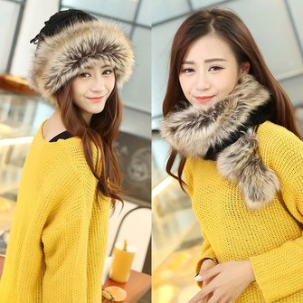 Women Ladies Crochet Braided Rabbit Fur Fleece Lined Cap Beanie Knit Neck Scarfs Multifuctional Hats