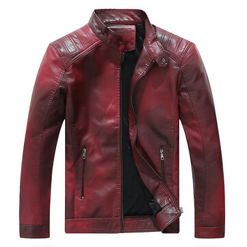Mens Faux Leather Fleece Liner Stand Collar Gradient Color PU Motorcycle Biker Jacket