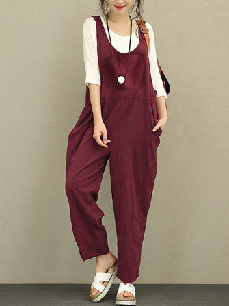 Women Sleeveless Strap Loose Linen Cotton Harem Jumpsuit Romper
